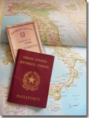 Italian passport and ID card are placed on the map of Italy